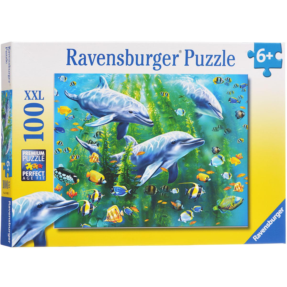 Ravensburger Три дельфина. Пазл XXL, 100 элементов10605Пазл Ravensburger Три дельфина, без сомнения, придется по душе вам и вашему малышу. Собрав этот пазл, включающий в себя 100 элементов, вы получите великолепную картину с изображением дельфинов. Каждая деталь имеет свою форму и подходит только на своё место. Нет двух одинаковых деталей! Пазл изготовлен из картона высочайшего качества. Все изображения аккуратно отсканированы и напечатаны на ламинированной бумаге. Пазл - великолепная игра для семейного досуга. Сегодня собирание пазлов стало особенно популярным, главным образом, благодаря своей многообразной тематике, способной удовлетворить самый взыскательный вкус. А для детей это не только интересно, но и полезно. Собирание пазла развивает мелкую моторику у ребенка, тренирует наблюдательность, логическое мышление, знакомит с окружающим миром, с цветом и разнообразными формами.