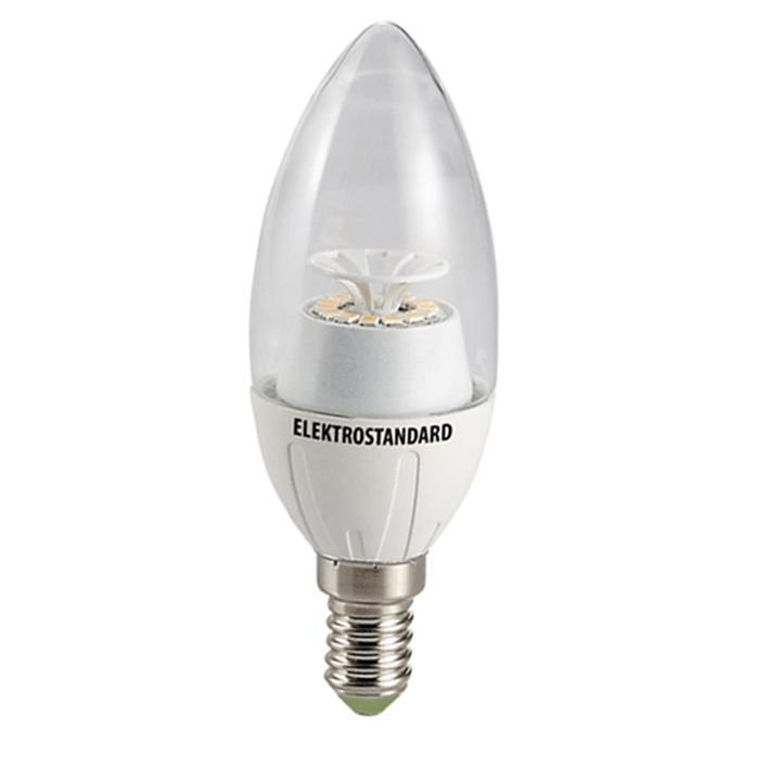 Светодиодная лампа Elektrostandard Свеча CR 12SMD 6W 3300K E14a029973Светодиодные лампы Elektrostandard благодаря низкому потреблению и высокой энергоэффективности являются одним из самым перспективным видом освещения. Светодиодные лампы Электростандард можно устанавливать во все светильники в которых используются лампы накаливания, эноргосберегающие, галогенные. Срок службы светодиодных ламп составляет от 30000 до 50000 часов и не зависит от количества включения и выключения, Напряжение: 220 вольт
