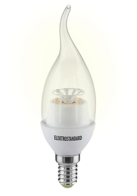 Светодиодная лампа Elektrostandard Свеча на ветру CR 14SMD 4W 3300K E14a029988Светодиодные лампы Elektrostandard благодаря низкому потреблению и высокой энергоэффективности являются одним из самым перспективным видом освещения. Светодиодные лампы Электростандард можно устанавливать во все светильники в которых используются лампы накаливания, эноргосберегающие, галогенные. Срок службы светодиодных ламп составляет от 30000 до 50000 часов и не зависит от количества включения и выключения, Напряжение: 220 вольт