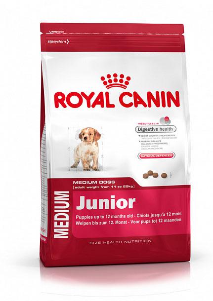 Корм сухой Royal Canin Medium Junior, для щенков весом от 11 кг до 25 кг в возрасте до 12 месяцев, 15 кг190150Сухой корм Royal Canin Medium Junior - полнорационный сухой корм для щенков собак средних размеров (вес взрослой собаки от 11 до 25 кг) в возрасте до 12 месяцев. Эксклюзивная комбинация питательных веществ обеспечивает оптимальную безопасность пищеварения (L.I.P. белки) и баланс кишечной флоры (пребиотики, ФОС, МОС), который способствует нормальной консистенции стула. Короткий период роста - большие энергозатраты. Удовлетворяет высокие энергетические потребности щенков средних пород в короткий период их роста. Минеральный баланс (кальций / фосфор). Способствует нормальному формированию и росту скелета у щенков средних размеров благодаря оптимальному содержанию кальция и фосфора. Способствует поддержанию естественных защитных сил организма благодаря запатентованному комплексу антиоксидантов и манноолигосахаридов. Состав: дегидратированные белки животного происхождения (птица), животные жиры, кукуруза, дегидратированные белки...