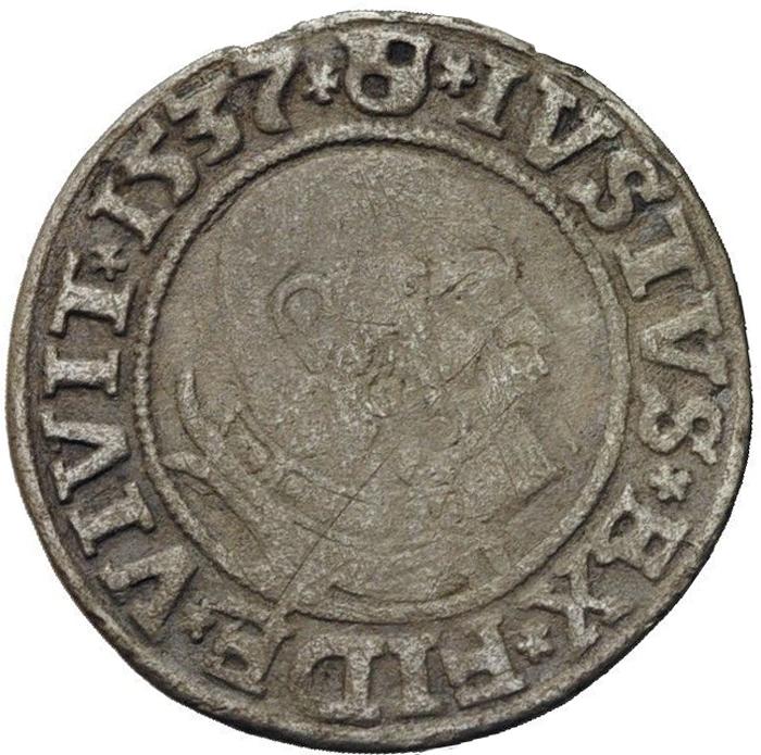 Монета 1 грош. Альбрехт фон Бранденбург (1525-1569). Белый металл. Пруссия, 1537 год304329Монета 1 грош. Альбрехт фон Бранденбург (1525-1569). Пруссия, 1537 год. Диаметр 2,3 см. Ag. Аверс: портрет Альбрехта фон Бранденбурга, повернутый вправо, круговая легенда на латинском (сокращениями): «IVSTVS.EX.FIDE.VIVIT.1537». Реверс: изображение орла с распахнутыми крыльями, в центре помещен герб с литерой S, круговая легенда на латинском (сокращениями): «ALBER.D.G.MAR.BRAN.DVX.PRVSS». Гурт гладкий. Соотношение осей аверса и реверса: 3. Сохранность очень хорошая. Красивая патина.
