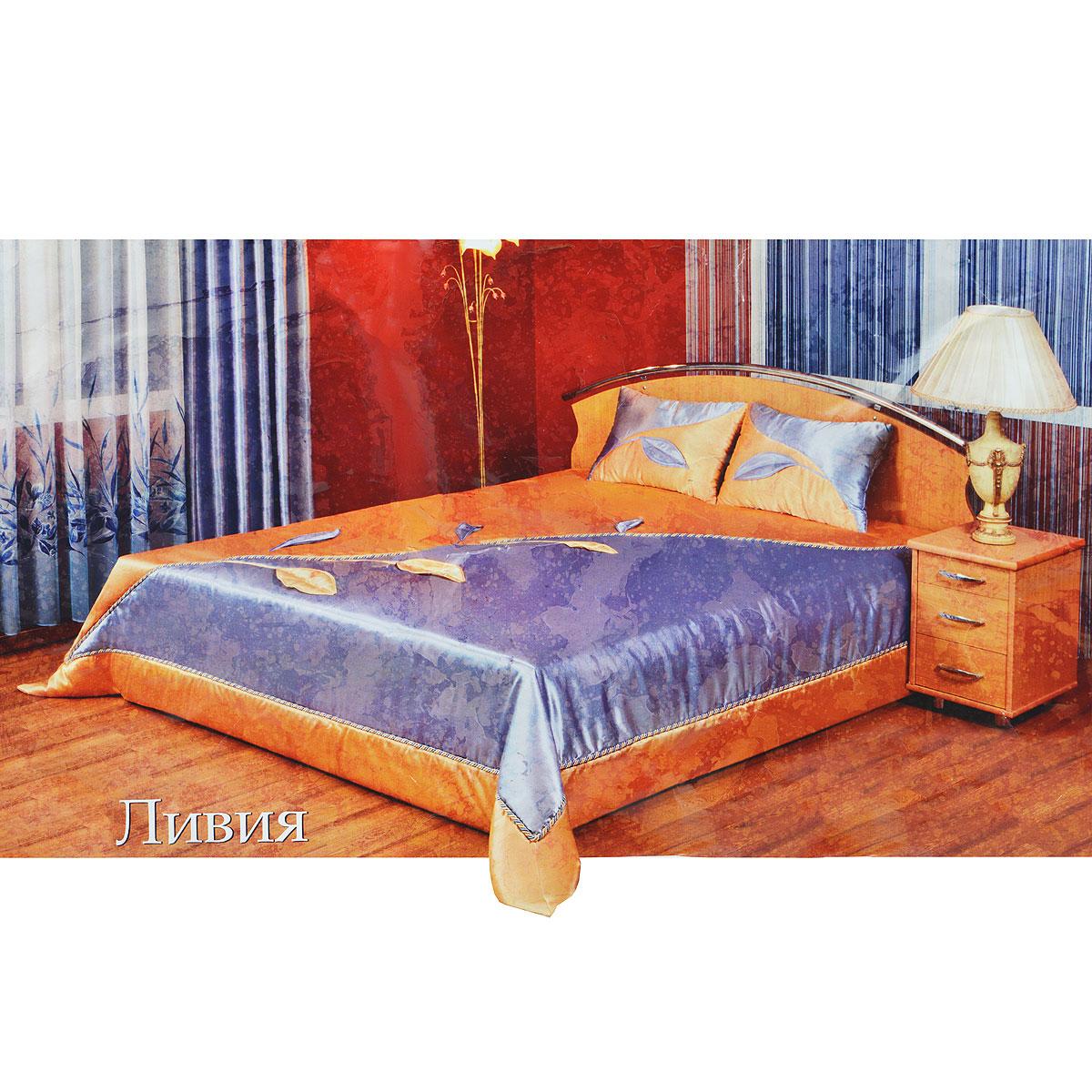 Комплект для спальни Zlata Korunka Ливия, цвет: голубой, желтый, 3 предмета10217СРоскошный комплект для спальни Zlata Korunka Ливия состоит из покрывала и двух подушек. Предметы комплекта выполнены из атласной ткани желто-голубого цвета и декорированы аппликациями в виде листочков. Покрывало дополнительно оформлено плетеным шнурком, расположенным по диагонали. Изделия отличает хорошо подобранная цветовая гамма и привлекательный внешний вид. Комплект для спальни Zlata Korunka Ливия - отличный способ придать спальне уют и привнести в интерьер что-то новое. Комплект упакован в пластиковую сумку-чехол, закрывающуюся на застежку-молнию, с двумя текстильными ручками.
