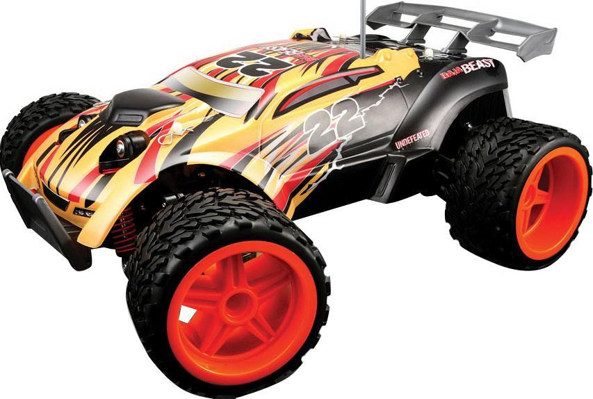 Радиоуправляемая модель Baja Beast, цвет: оранжево-черныйРадиоуправляемая модель Baja Beast, цвет: оранжево-черный81132 R/U- пропорциональное цифровое управление, это плавное изменения скорости и плавный поворот передних колес, - 3 канала управления, это возможность одновременной игры тремя машинами, - большая мощность, это быстрый набор скорости, возможность езды с управляемым заносом, - крепкая и надежная подпружиненная подвеска всех колес, это длительный срок эксплуатации, - высокая скорость, 18км/ч, эффектное ускорение, - устойчивость на дороге за счет широкой базы между колесами и низкого центра тяжести, это позволяет машине прыгать с небольших трамплинов и поворачивать на высокой скорости, не переворачиваясь