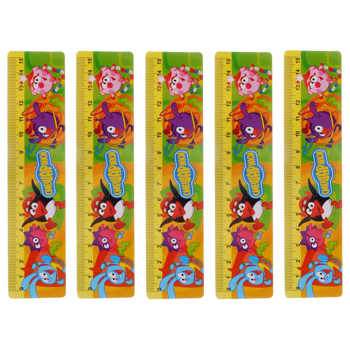 Линейка Centrum Смешарики, 15 см, цвет: желтый, 5 шт84700ОЛинейка Смешарики выполнена из прочного пластика и оформлена изображениями всеми любимых героев мультфильма Смешарики. Линейка имеет сантиметровую шкалу до 15 см. Цифры нанесены крупным шрифтом и не вызывают затруднений при чтении. В комплект входят 5 линеек. Линейка - это незаменимый атрибут, необходимый каждому школьнику или студенту, упрощающий измерение и обеспечивающий ровность проводимых линий. А с линейкой Смешарики учиться будет интересно и весело!