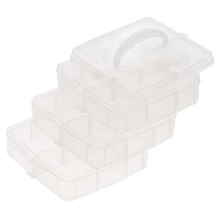 Контейнер для мелочей Hobby & Pro, 3-х ярусный, 15,5 см х 16 см х 13 см7700466Контейнер для мелочей Hobby & Pro изготовлен из прозрачного пластика, что позволяет видать содержимое. Подходит для хранения швейных принадлежностей, рыболовных снастей, мелких деталей и других бытовых мелочей. Контейнер содержит три яруса, любой из которых имеет 6 прямоугольных секций. Ярусы плотно закрываются на защелки, что позволяет хранить очень мелкие предметы.