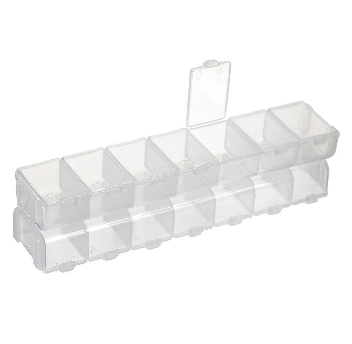 Контейнер для мелочей Два пенала, двухсторонний, 15,5 х 3,5 х 2 см7700175Двухсторонний контейнер для мелочей Два пенала изготовлен из прозрачного пластика. Содержит 14 секций, каждая из которых закрывается отдельной крышечкой. Идеально подходит для рыболовных снастей и приманок, а также мелких деталей и аксессуаров для шитья. Удобные и надежные защелки обеспечивают надежное закрывание крышек. Изделие легко моется и чистится.