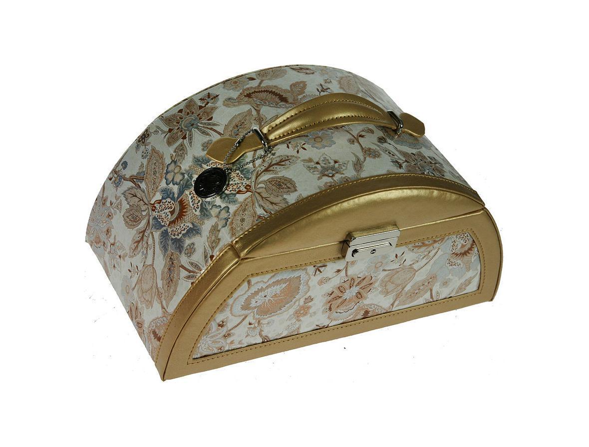 Шкатулка для ювелирных украшений CALVANI 28*15*10см83367Шкатулка Русские подарки CALVANI 83367 для хранения ювелирных украшений не оставит равнодушной ни одну любительницу изысканных вещей. На внутренней стороне крышки расположено небольшое удобное зеркальце. Сочетание оригинального дизайна и функциональности сделает такую шкатулку практичным, стильным подарком и предметом гордости ее обладательницы. Материал: кож. зам., картон, текстиль, стекло; цвет: бежевый