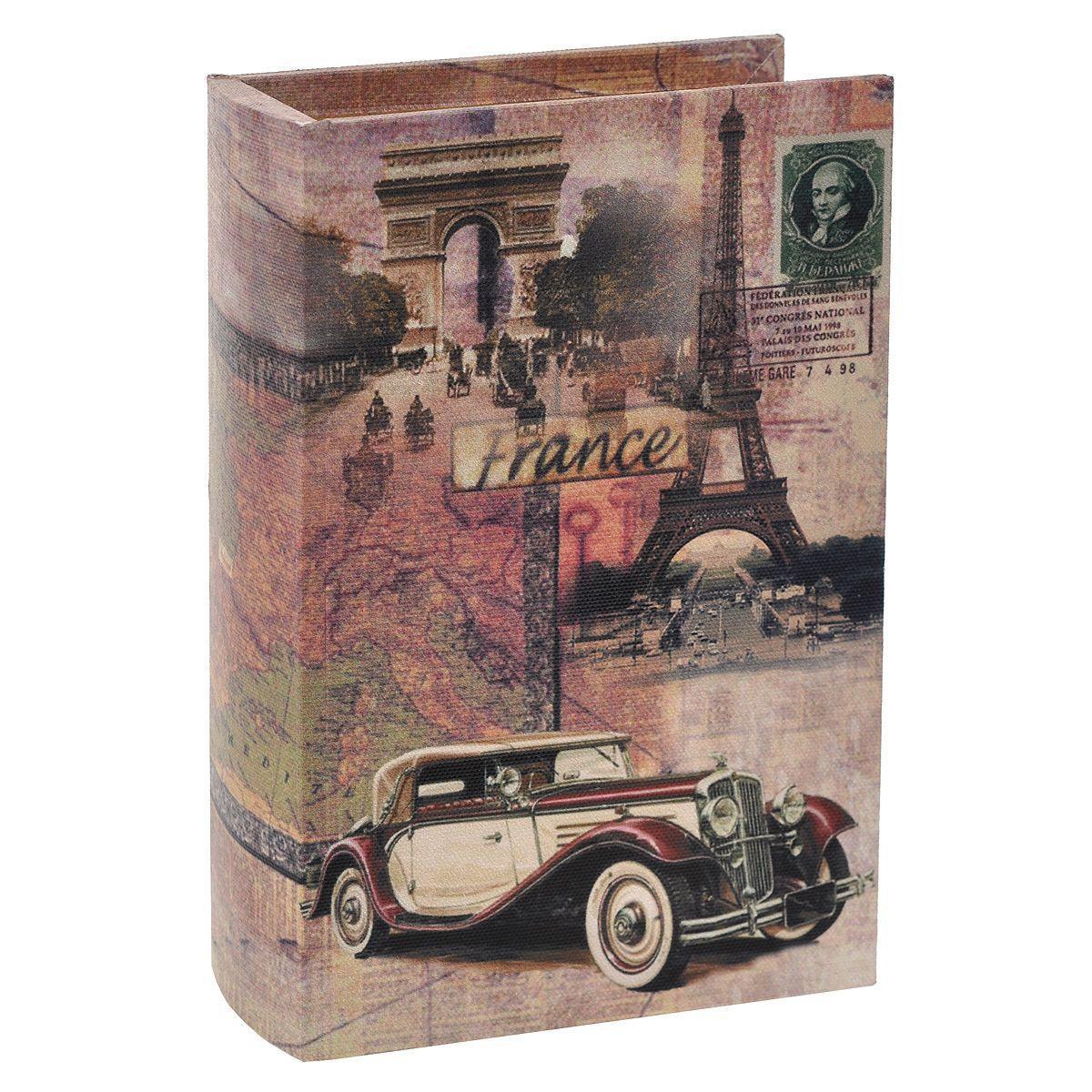 Шкатулка декоративная France, 20 см х 13,5 х 4,5 см. 7701688-12400604595335Декоративная шкатулка «France» не оставит равнодушной ни одну любительницу изысканных вещей. В такой шкатулке удобно хранить бижутерию или аксессуары для рукоделия. Вместительная шкатулка, выполнена из МДФ с отделкой из текстиля и оформлена изображениями главных достопримечательностей Франции. Внутри — отделка из полиэстера коричневого цвета. Шкатулка выполнена в виде книги и закрывается при помощи магнита. Сочетание оригинального дизайна и функциональности представляют шкатулку практичным и стильным подарком, а также предметом гордости ее обладательницы.