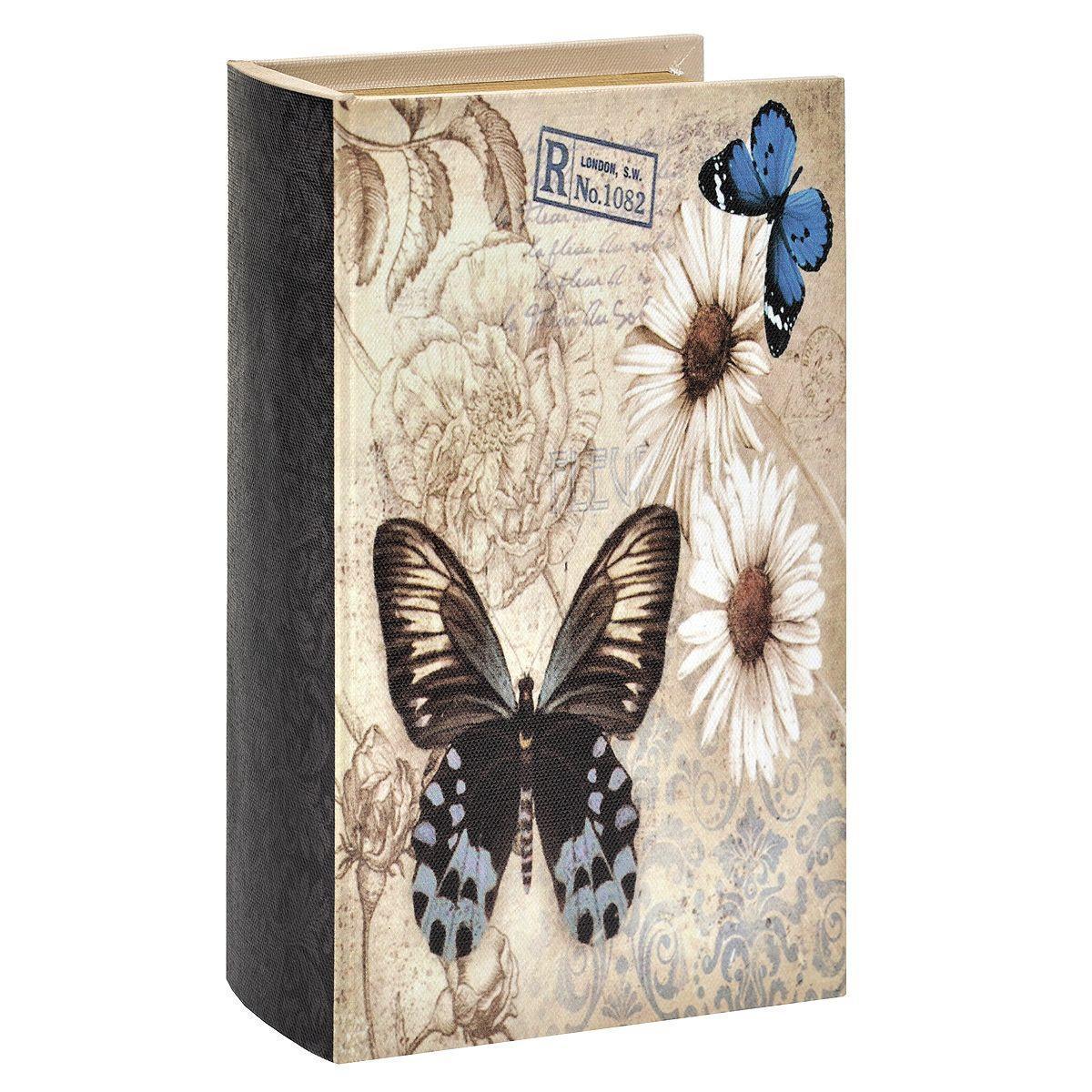 Декоративная шкатулка Книга. 7701690-12400604596424Декоративная шкатулка, выполненная из МДФ с отделкой из текстиля и оформлена оригинальным изображением цветов и бабочек. Внутри - отделка из текстиля коричневого цвета. Такая шкатулка может использоваться для хранения бижутерии, в качестве украшения интерьера, а также послужит хорошим подарком для человека, ценящего практичные и оригинальные вещи.