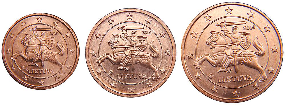 Набор из 3 обиходных монет номиналом 1, 2, 5 центов. Литва, 2015 год