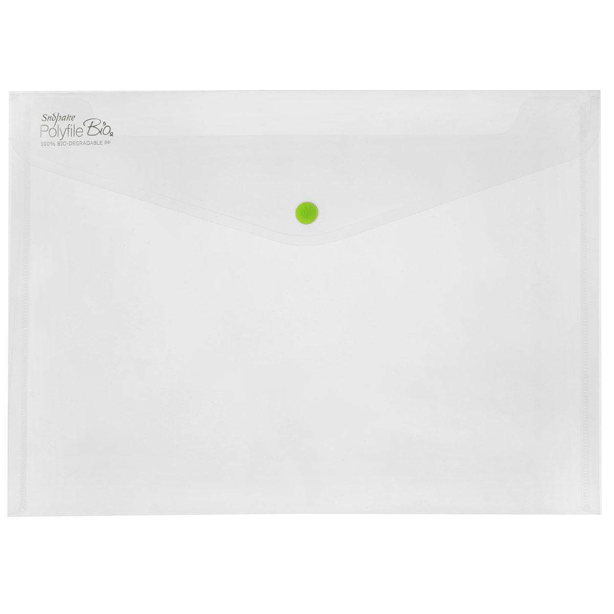 Папка-конверт на кнопке Snopake Bio, из биопластика, цвет: прозрачный. Формат А4K15428