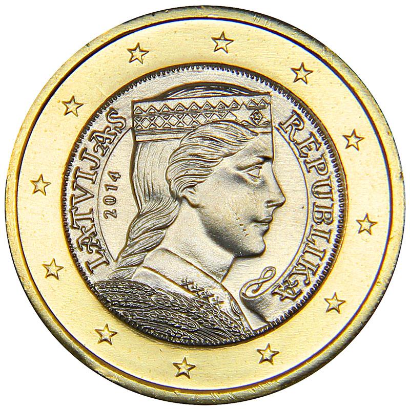 Монета номиналом 1 евро. Латвия, 2014 год304329Материал: биметалл. Диаметр: 23 мм. Состояние: UNC (без обращения).