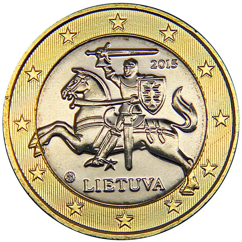 Монета номиналом 1 евро. Литва, 2015 год304329Материал: биметалл. Диаметр: 23 мм. Состояние: UNC (без обращения).