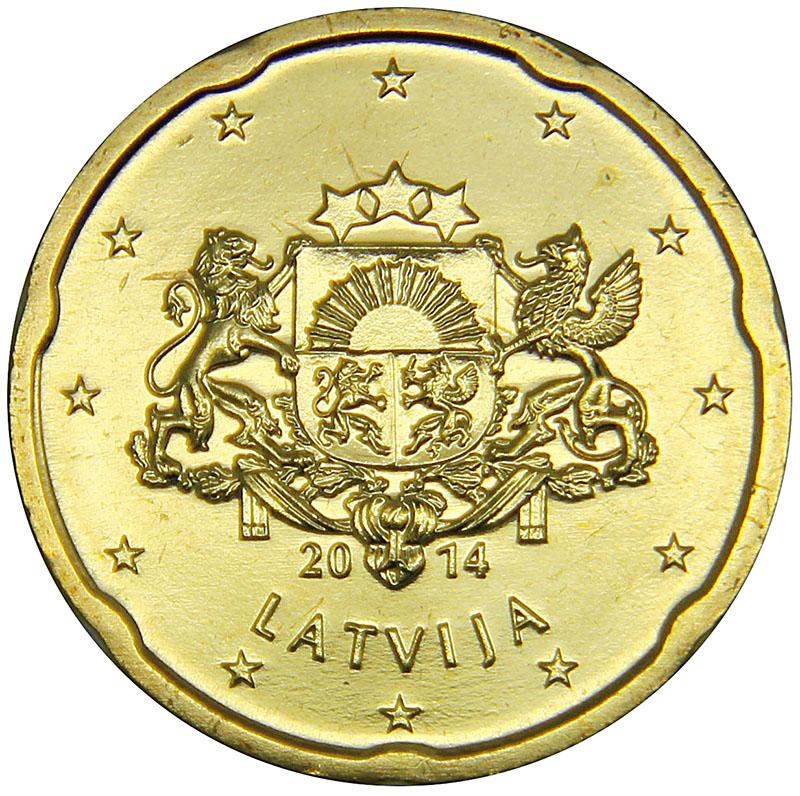 Монета номиналом 20 центов. Латвия, 2014 год