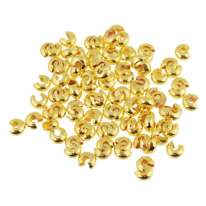 Кримп Астра, круглый, цвет: золотистый, диаметр 5 мм, 100 шт. 77013247701324_золотойНабор кримпов Астра, изготовленный из металла, позволит вам создать любое украшение. Кримпы или обжимные бусины, выполненные в виде маленьких трубочек-бусин, используются для создания неподвижного стопора-фиксатора на леске или тросике. Кримп надевается и зажимается в нужном месте плоскогубцами. Можно зафиксировать петельку или создать концевой ограничитель для бусин.