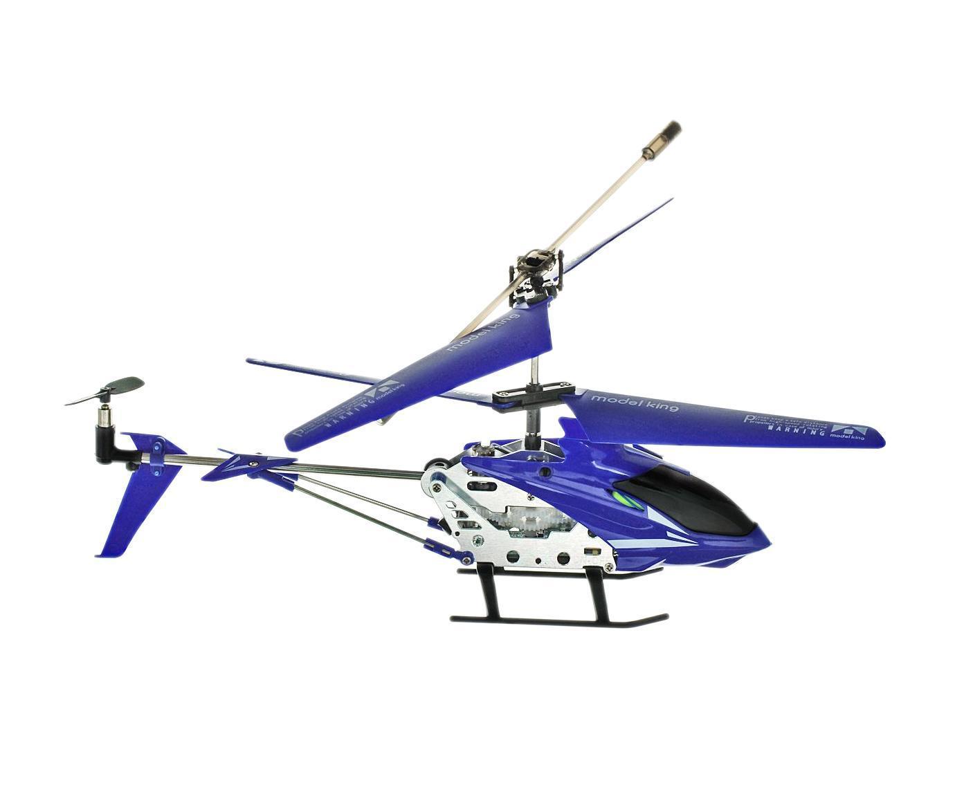 Junfa Toys Вертолет на радиоуправлении Model King цвет синий33008-1 синийРадиоуправляемая модель Вертолет с 3,5-канальным управлением обязательно понравится вашему ребенку. Она выполнена из металла с элементами пластика в виде вертолета. Управление игрушкой осуществляется с помощью пульта управления. Гироскоп способствует максимальной стабилизации полета. Световые эффекты сделают игру еще более захватывающей. Вертолет двигается назад/вперед, вверх/вниз, а также устремляться в левую и правую сторону. Игрушка предназначена для запуска в помещении.