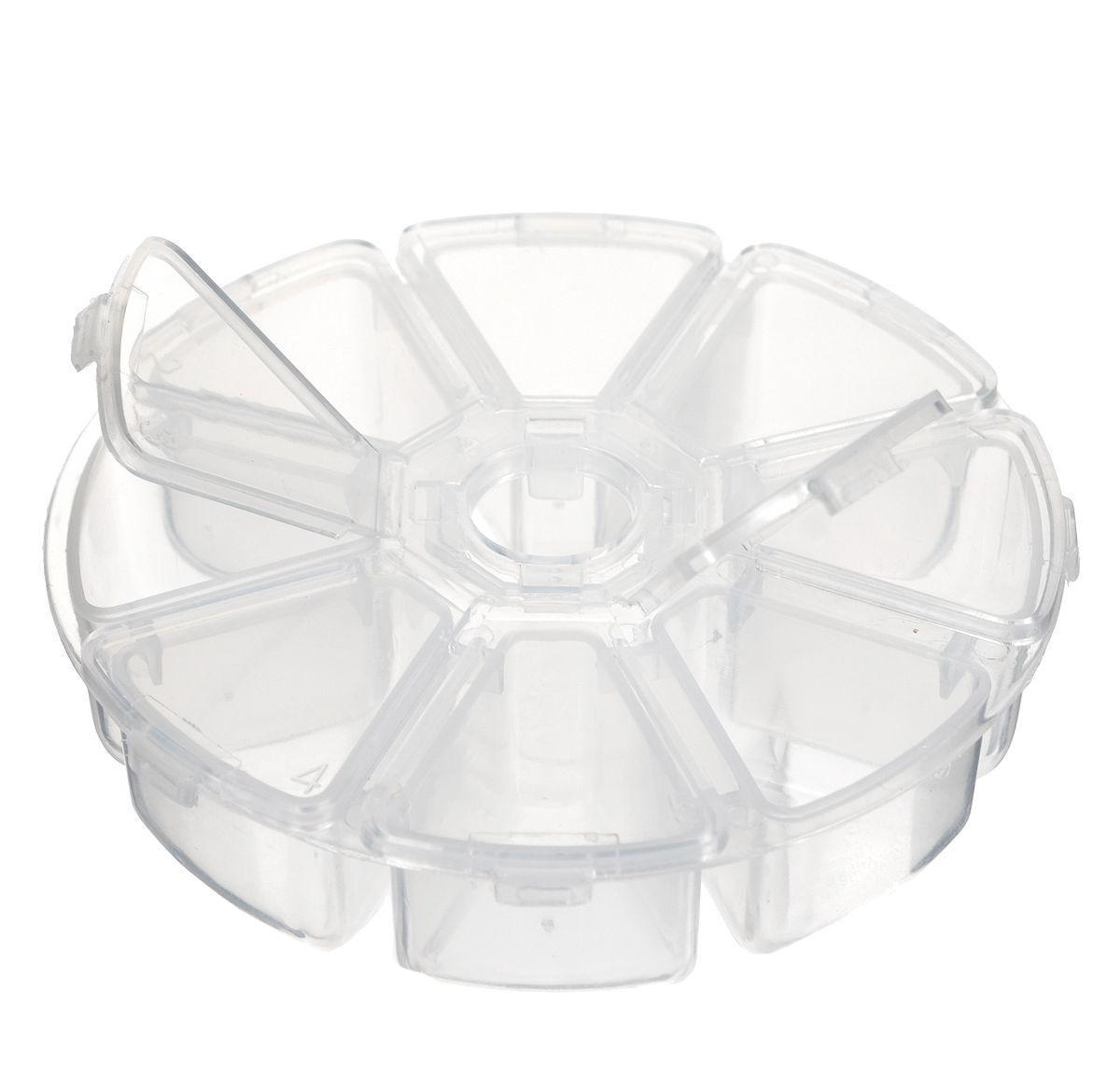 Контейнер для бисера Hobby & Pro, 8 секций, диаметр 10 см7700463Контейнер для мелочей изготовлен из прозрачного пластика, что позволяет видеть содержимое. Внутри содержится 8 ячеек для хранения мелких принадлежностей. Крышка плотно закрывается. Такой контейнер поможет держать вещи в порядке. Идеально подходит для хранения принадлежностей для шитья и других мелких бытовых предметов.