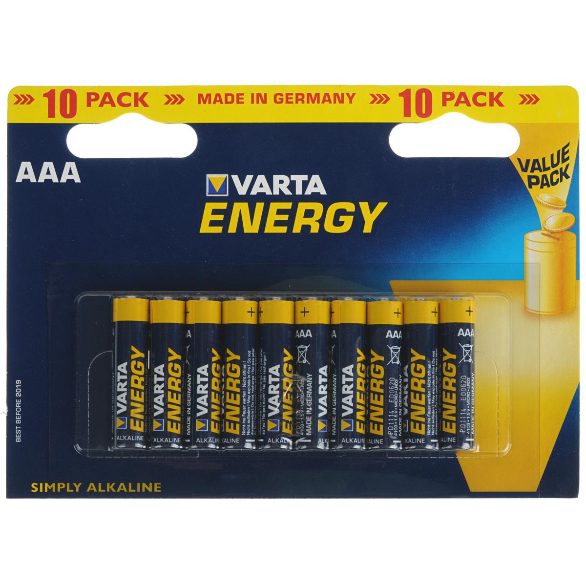 Батарейка Varta Energy, тип ААА, 1,5В, 10 шт38562Алкалиновые батарейки Varta Energy отличаются долгим сроком работы, подходят для аудио- видео- техники, а также другой электроники и бытовых приборов. Сделаны из качественных материалов.