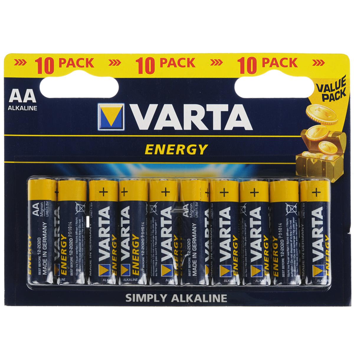 Батарейка Varta Energy, тип AA, 1,5В, 10 шт38563Алкалиновые батарейки Varta Energy отличаются долгим сроком работы, подходят для аудио- видео- техники, а также другой электроники и бытовых приборов. Сделаны из качественных материалов.