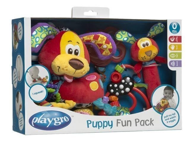Playgro Подарочный развивающий набор Верные друзья0182809Развивающий набор Playgro Верные друзья просто создан для того, чтобы быть самым первым развивающим набором в коллекции малыша. Набор включает игрушку-подвеску, мягкий охлаждающий прорезыватель в виде пчелки, игрушку-пищалку и забавную погремушку. Игрушка-подвеска, выполненная из различных по фактуре материалов в виде мягконабивного щенка, крепится к кроватке, коляске, автокреслу или игровой дуге малыша с помощью пластикового незамкнутого кольца. Ушки щенка шуршат, к ошейнику крепятся два рельефных элемента, внутри тельца находится погремушка. Если потянуть за его хвост и отпустить, хвостик вернется обратно, издавая шум и вибрируя. Мягкая игрушка-пищалка также выполнена в виде щенка с шуршащими ушками и продолговатым тельцем, при нажатии на которое малыш услышит писк. Погремушка выполнена из безопасного пластика. На ней расположены пластиковые бусины различной формы, которые малыш будет с удовольствием передвигать. Эти игрушки в игровой форме помогут малышу...