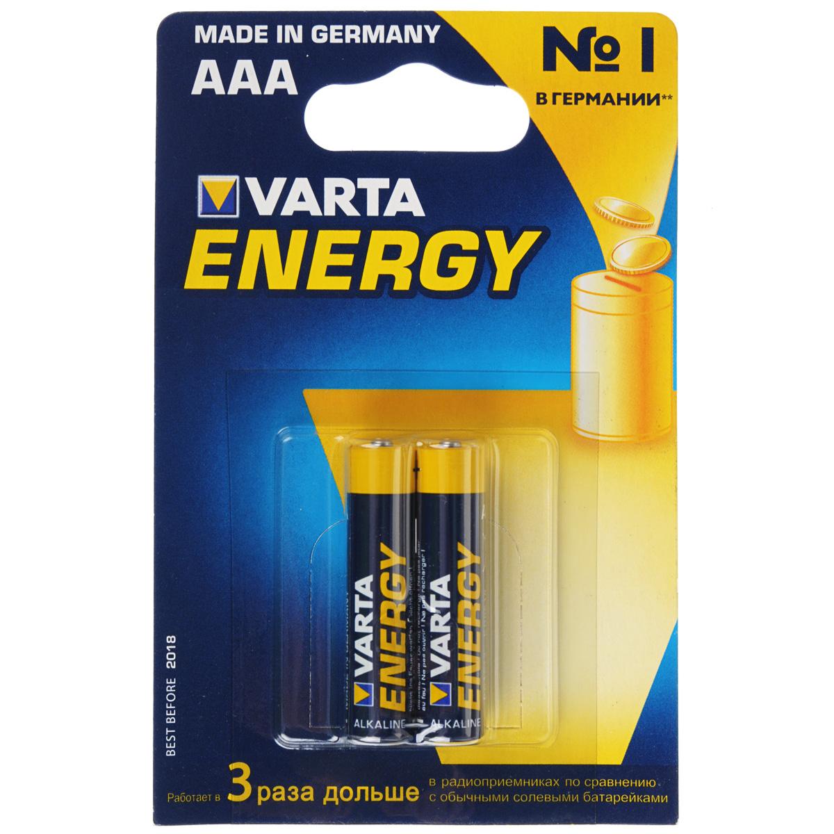 Батарейка Varta Energy, тип AAA, 1,5В, 2 шт38564Алкалиновые батарейки Varta Energy отличаются долгим сроком работы, подходят для аудио- видео- техники, а также другой электроники и бытовых приборов. Сделаны из качественных материалов.