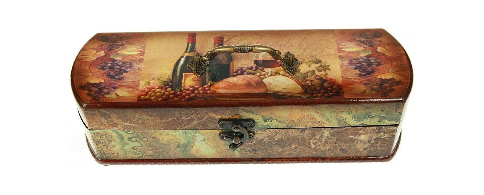 Шкатулка Сундучок под бутылку 36*12*10см 3476334763Шкатулка Русские подарки Сундучок 34763 предназначена для хранения бутылок с вином. Она не оставит равнодушным ни одного любителя оригинальных вещей. Данная модель надежно закрывается на металлический замок. Сочетание оригинального дизайна и функциональности делает такую вещь практичным, стильным подарком и предметом гордости ее обладателя.