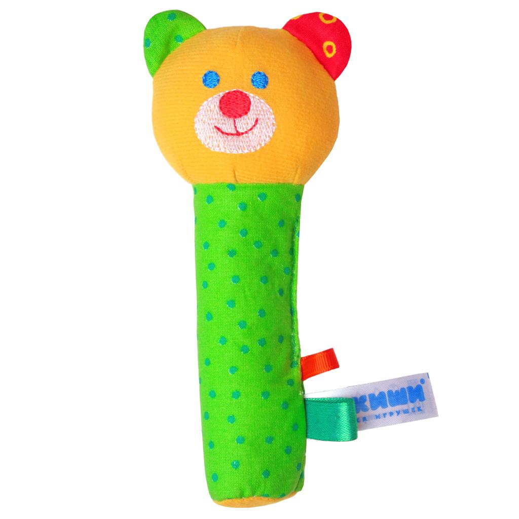 Мягкая игрушка-погремушка Мишка281Яркая мягкая игрушка-погремушка Мишка привлечет внимание малыша и не позволит ему скучать. Погремушка выполнена из высококачественных гипоаллергенных материалов: разнофактурный текстиль и мягкий наполнитель, что делает ее абсолютно безопасной в игре. Игрушка состоит из крупной головы мишки и длинной округлой и очень удобной ножки-держателя. При потряхивании игрушки раздается негромкий звук. Мягкая игрушка-погремушка способствует развитию мышления, координации движений, звукового и цветового восприятия, тактильных ощущений, совершенствует моторику нежных пальчиков малыша. Ваш малыш обязательно полюбит игрушку, а игры с ней будут не только увлекательными, но и полезными для развития малыша. Порадуйте своего ребенка таким замечательным подарком