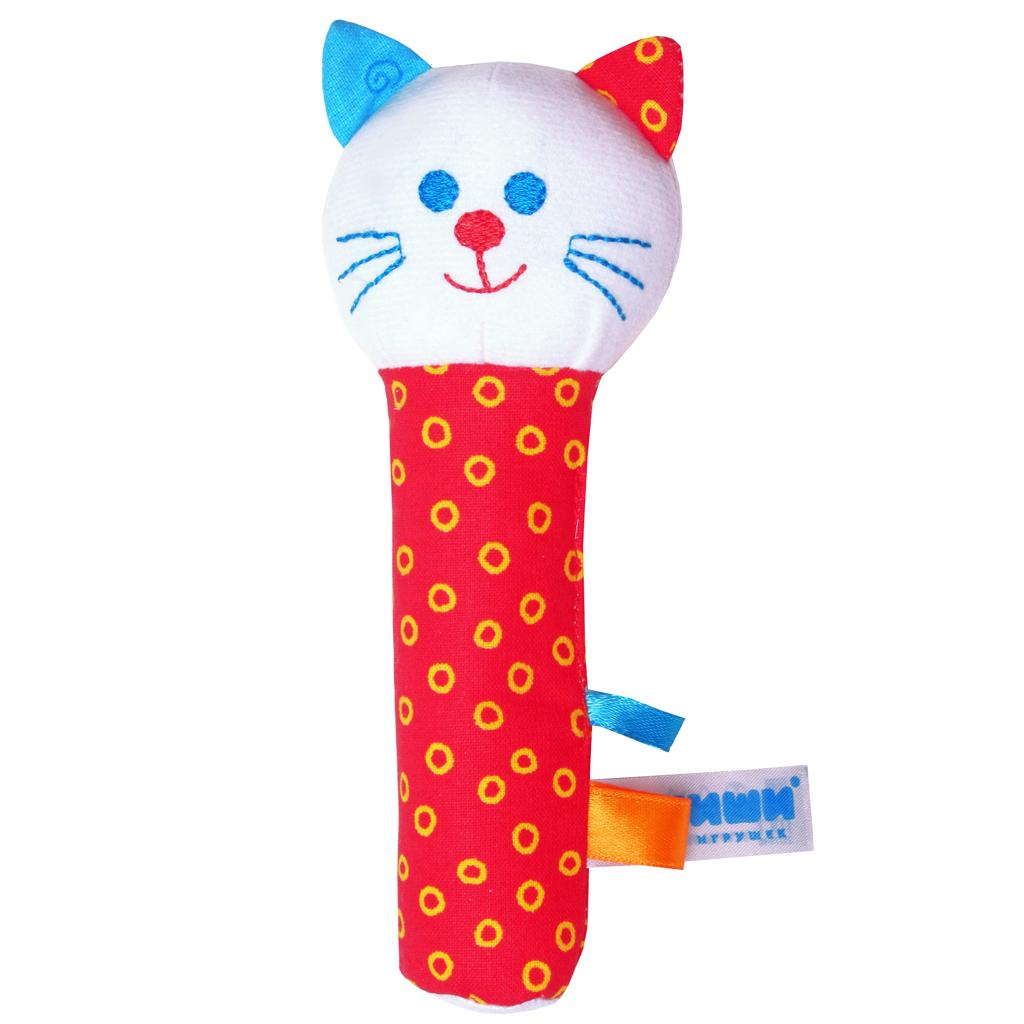 Мягкая игрушка-погремушка Котик282Яркая мягкая игрушка-погремушка Котик привлечет внимание малыша и не позволит ему скучать. Погремушка выполнена из высококачественных гипоаллергенных материалов: разнофактурный текстиль и мягкий наполнитель, что делает ее абсолютно безопасной в игре. Игрушка состоит из крупной головы котика и длинной округлой и очень удобной ножки-держателя. При потряхивании игрушки раздается негромкий звук. Мягкая игрушка-погремушка способствует развитию мышления, координации движений, звукового и цветового восприятия, тактильных ощущений, совершенствует моторику нежных пальчиков малыша. Ваш малыш обязательно полюбит игрушку, а игры с ней будут не только увлекательными, но и полезными для развития малыша. Порадуйте своего ребенка таким замечательным подарком