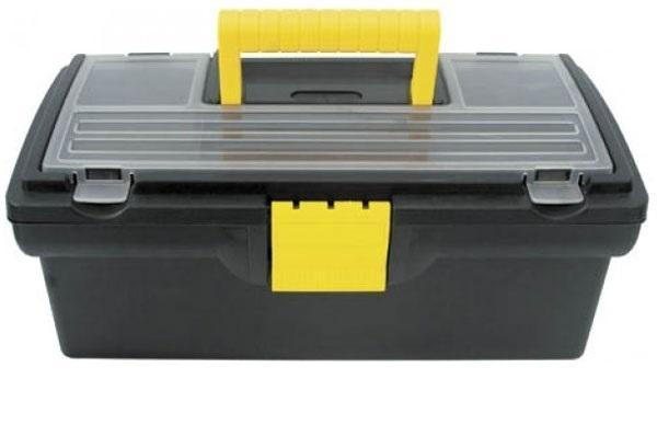 Ящик для инструментов КонтрФорс, 33 x 17,5 x 12,5 см, в ассортименте65500Ящик для инструментов КонтрФорс изготовлен из прочного пластика и предназначен для хранения и переноски инструментов. Вместительный, внутри имеет съемный лоток и большое отделение. На крышке ящика имеется два небольших органайзера с пластиковыми прозрачными крышками, что поможет быстро определить содержимое. Закрывается ящик при помощи защелки, которая не допустит случайного открывания. Ящик оснащен ручкой, благодаря которой можно без проблем переносить с места на место. Ручка прячется в крышке, что дает возможность размещать сверху другие ящики.