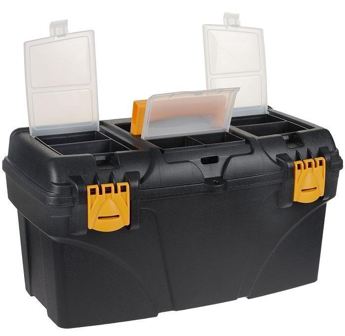Ящик для инструментов пластиковый FIT, 56,5 см х 32,5 см х 29 см65574Ящик FIT 65574 используется для хранения и комфортной транспортировки различных инструментов, мелких деталей и крепежа. Данная модель обладает вместительными и оптимальными габаритами. Также, ящик FIT 65574 оснащен двумя органайзерами с крышкой для хранения мелких деталей и изготовлен из ударопрочного пластика.