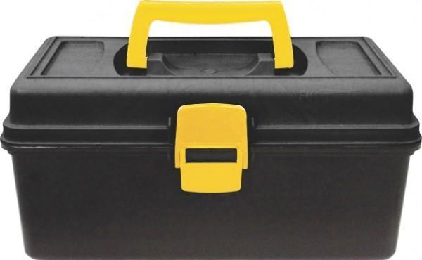 Ящик для инструмента Калита, 1365494Ящик для инструмента Калита изготовлен из прочного пластика и предназначен для хранения и переноски инструментов. Вместительный, имеет большое внутреннее отделения и пластиковыю защелку, не допускающую случайного открывания. Для более комфортного переноса в руках, на крышке ящика предусмотрена удобная ручка.
