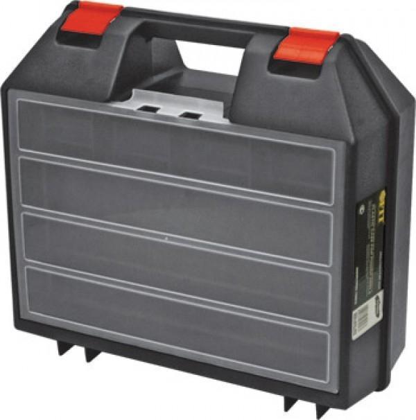 Ящик пластиковый FIT для электроинструмента, 36 х 32 х 14 см65606Ящик FIT 65606 предназначен для хранения и транспортировки инструмента, крепежа, мелких элементов и электродеталей. Данная модель обладает прочной конструкцией и имеет габаритные размеры 36х32х14 см. Также, ящик FIT 65606 идеально подойдет для электроинструмента и комплектуется встроенным органайзером для мелочей.
