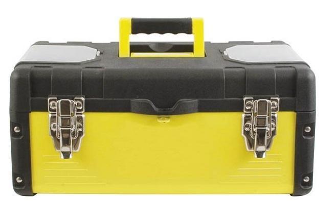 Ящик для инструмента FIT, стальные стенки, 40 х 20 х 19 см65591Ящик FIT предназначен для хранения и переноски. Дно, лицевая и задняя стенки выполнены из цельного стального листа, а боковые стенки и крышка из ударопрочного пластика. Имеет подвижный лоток. На крышке расположены 2 встроенных органайзера. Надежные металлические замки с хромированным покрытием. Отделения: 2 отделения органайзера размером: 9,5 см х 5 см х 1,5 см. 4 отделения отделения органайзера размером: 4,5 см х 4,5 см х 1,5 см. 2 отделения лотка размером: 31 см х 8 см х 3 см. 2 отделения лотка размером: 16 см х 3 см х 3 см.