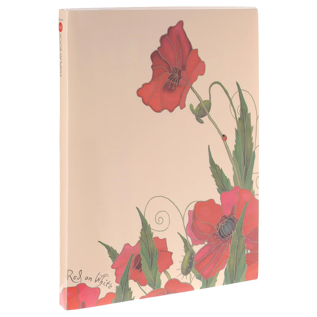 Папка Hatber Red on White, на 40 файлов, цвет: бежевый, красный. Формат А440AV4_10641Папка Hatber Red on White - это удобный и функциональный инструмент, который идеально подойдет для хранения различных бумаг и документов формата А4. Обложка папки оформлена красочным изображением красных цветов на светлом фоне. Папка изготовлена из высококачественного пластика и включает в себя 40 прозрачных файлов формата А4. Папка практична в использовании и надежно сохранит ваши документы и сбережет их от повреждений, пыли и влаги.
