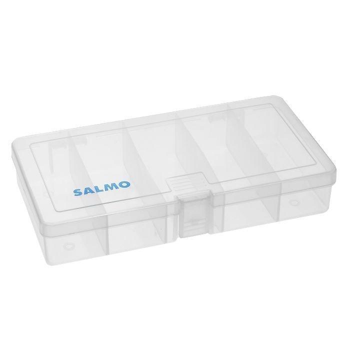 Коробка рыболовная Salmo 87, цвет: прозрачный1500-87Удобная коробка Salmo 87 для хранения и транспортировки приманок и рыболовных принадлежностей позволит максимально защитить ее содержимое от попадания загрязнений и влаги. Коробка выполнена из прозрачного пластика и содержит 5 отсеков. Благодаря своему небольшому размеру она компактна и не занимает много места.