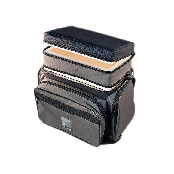Ящик-рюкзак рыболовный Salmo, зимний, 2 ярусаB-2LUXЯщик-сумка-рюкзак отлично подойдет рыболовам, любящим зимнюю рыбалку. Внутри ящик изготовлен из прочного авиационного пенопласта, благодаря чему он легкий и прочный. В ящик можно положить все необходимое для длительного нахождения на рыбалке, а в конце можно сложить в него пойманную рыбу.