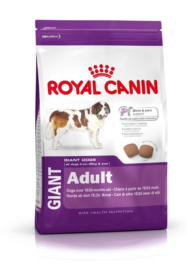 Корм сухой Royal Canin Giant Adult, для взрослых собак очень крупных размеров, 15 кг340150Сухой корм Royal Canin Giant Adult - полнорационный сухой корм для взрослых собак очень крупных размеров (вес взрослой собаки более 45 кг) в возрасте старше 18/24 месяцев. Здоровье костей и суставов. Формула способствует поддержанию здоровья костей и суставов взрослых собак очень крупных размеров. Комплекс антиоксидантов. Уникальный комплекс антиоксидантов способствует нейтрализации свободных радикалов. Здоровое сердце. Формула содержит таурин, который способствует поддержанию здоровья сердца. Высокая перевариваемость. Позволяет обеспечить оптимальную перевариваемость благодаря уникальной формуле, содержащей высококачественные белки и идеальный баланс диетической клетчатки. Состав: дегидратированные белки животного происхождения (птица), кукуруза, кукурузная мука, животные жиры, пшеница, рис, гидролизат белков животного происхождения, кукурузная клейковина, свекольный жом, изолят растительных белков, рыбий жир, растительная клетчатка,...