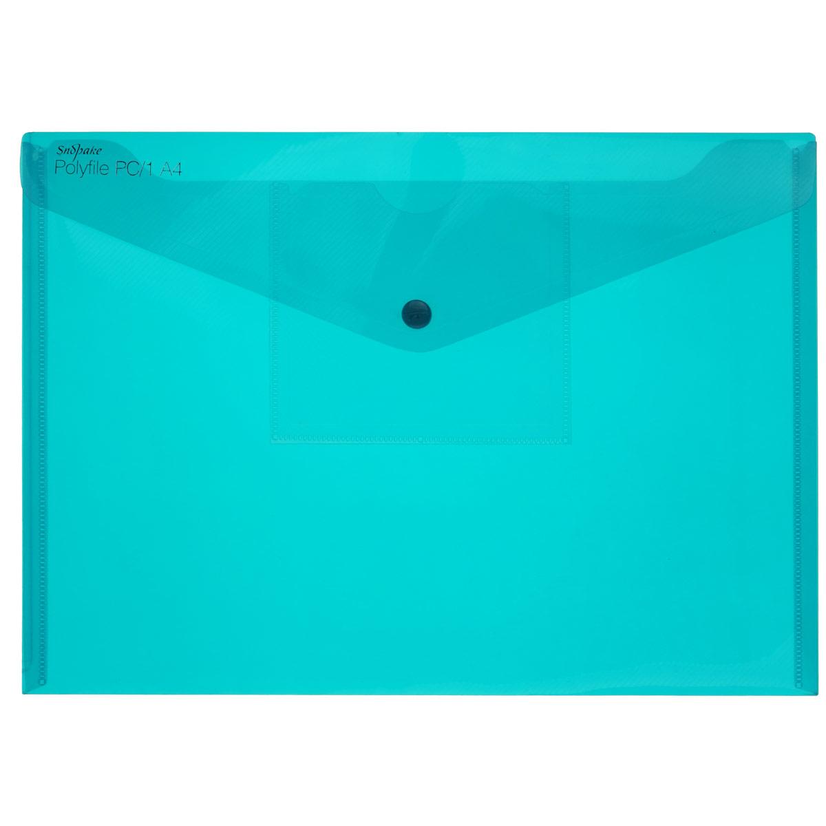 Папка-конверт на кнопке Snopake Electra, с карманом для 3.5 дискет, цвет: бирюзовый. Формат А4K11760