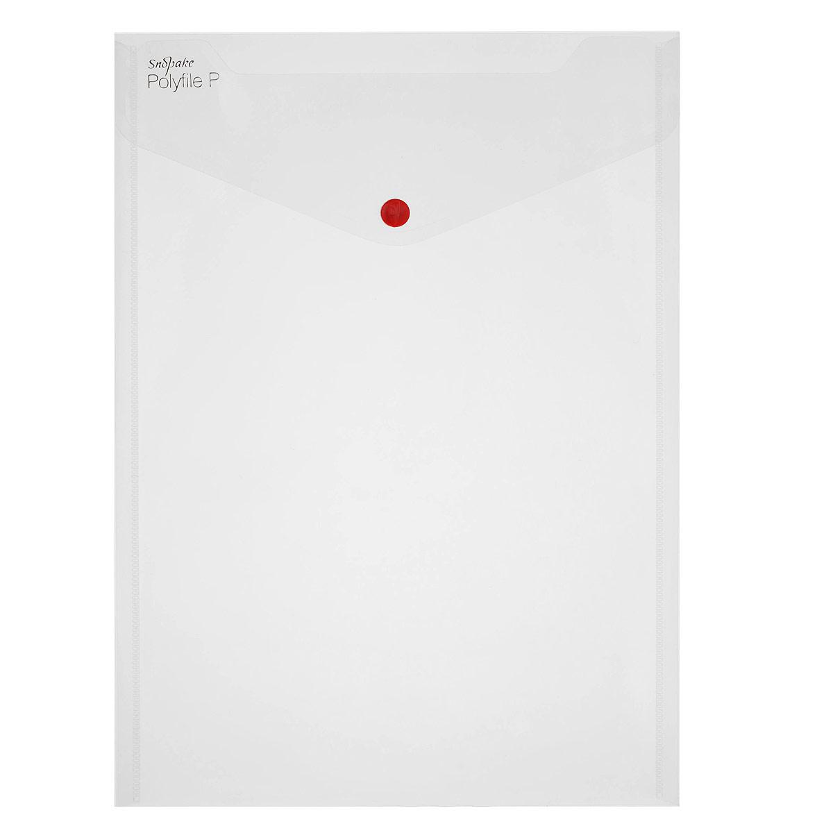Папка-конверт на кнопке Snopake Polyfile P, вертикальная, цвет: прозрачный. Формат А4K13263
