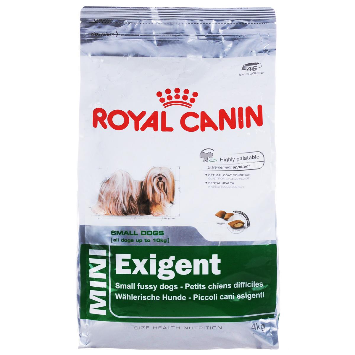 Корм сухой Royal Canin Mini Exigent, для собак мелких пород, привередливых в питании, 4 кг313040Полнорационный сухой корм Royal Canin Mini Exigent для подходит собакам мелких размеров (вес взрослой собаки до 10 кг) старше 10 месяцев. Специальная технология изготовления крокет сочетает 2 вида текстур (хрустящую и мягкую), а также уникальные вкусовые добавки, что придется по вкусу даже самым привередливым собакам мелких размеров. Корм питает шерсть благодаря включению в состав корма серосодержащих аминокислот (метионин и цистин), жирных кислот Омега 6 и витамина А. Помогает замедлить образование зубного налета благодаря полифосфату натрия, который связывает кальций, содержащийся в слюне. Состав: дегидратированное мясо птицы, животные жиры, предварительно обработанная пшеничная мука, рис, изолят растительных белков L.I.P., гидролизат белков животного происхождения, кукурузная мука, растительная клетчатка, свекольный жом, рыбий жир, минеральные вещества, фруктоолигосахариды, масло огуречника аптечного 0,1%. Добавки в 1 кг: витамин А 29700 МЕ, витамин D3 800 МЕ,...