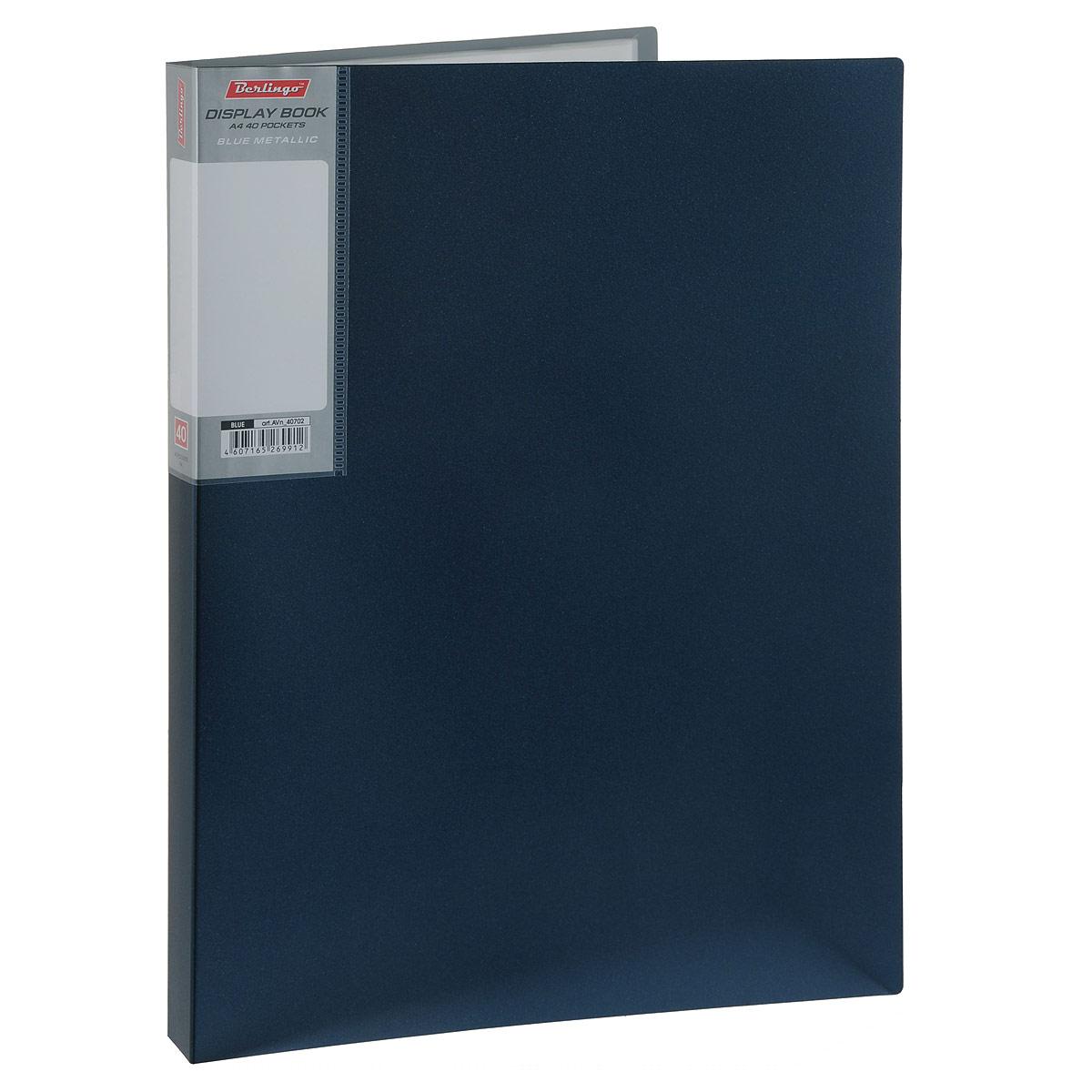 Папка Berlingo Metallic, на 40 файлов, цвет: темно-синий. Формат А4AVn_40702Папка Berlingo Metallic - это удобный и функциональный офисный инструмент, предназначенный для хранения и транспортировки рабочих бумаг и документов формата А4. Обложка папки изготовлена из прочного непрозрачного пластика с оформлением металлик. Папка включает в себя 40 прозрачных файлов формата А4. Папка - это незаменимый атрибут для студента, школьника, офисного работника. Такая папка надежно сохранит ваши документы и сбережет их от повреждений, пыли и влаги.