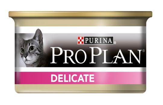 Консервы Pro Plan Delicate для кошек с чувствительным пищеварением, с индейкой, 85 г12066943Консервы Pro Plan Nutri Savour помогают уменьшить кожные реакции, связанные с пищевой непереносимостью. Нежные кусочки в пикантном соусе очень привлекательны для кошек благодаря запатентованной технологии. Доказано: способствует улучшению пищеварения благодаря содержанию инулина, пребиотика, который помогает сбалансировать кишечную флору кошек с повышенной чувствительностью. Состав: мясо и субпродукты (из которых индейка 20%), масла и жиры, продукты переработки овощей, минеральные вещества, сахара. Добавленные вещества: МЕ/кг: Витамин А 1645, Витамин D3 230, мг/кг: железо 15,7, йод 0,6, медь 1,5, марганец 2,75, цинк: 42,5, селен 0,03. Гарантируемые показатели (%): влажность 75,0, белок 11,5, жир 8,1, сырая зола 2,7, сырая клетчатка 0,4. Товар сертифицирован.