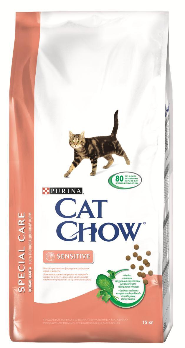 Корм сухой Cat Chow Special Care для кошек с чувствительным пищеварением, 15 кг12147057Корм сухой Cat Chow Special Care - полнорационный корм для кошек с чувствительным пищеварением, для здоровья кожи и шерсти. Сама природа вдохновляет компанию PURINA на разработку кормов, которые максимально отвечают потребностям ваших питомцев, с учетом их природных инстинктов. Имея более чем 80-ти летний опыт в области питания животных, PURINA создала новый корм Cat Chow - полностью сбалансированный корм, который не только доставит удовольствие вашей кошке, но и будет полезным для ее здоровья. Особенности корма Cat Chow Special Care: Высокое содержание мяса, с источниками высококачественного белка в каждой порции для поддержания оптимальной массы тела. Особое сочетание натуральных ингредиентов: тщательно отобранные травы и овощи (петрушка, шпинат, морковь, горох). Отборные ингредиенты придают особый аромат. Высокое содержание витамина Е для поддержания естественной защиты организма питомца. Содержит мякоть...