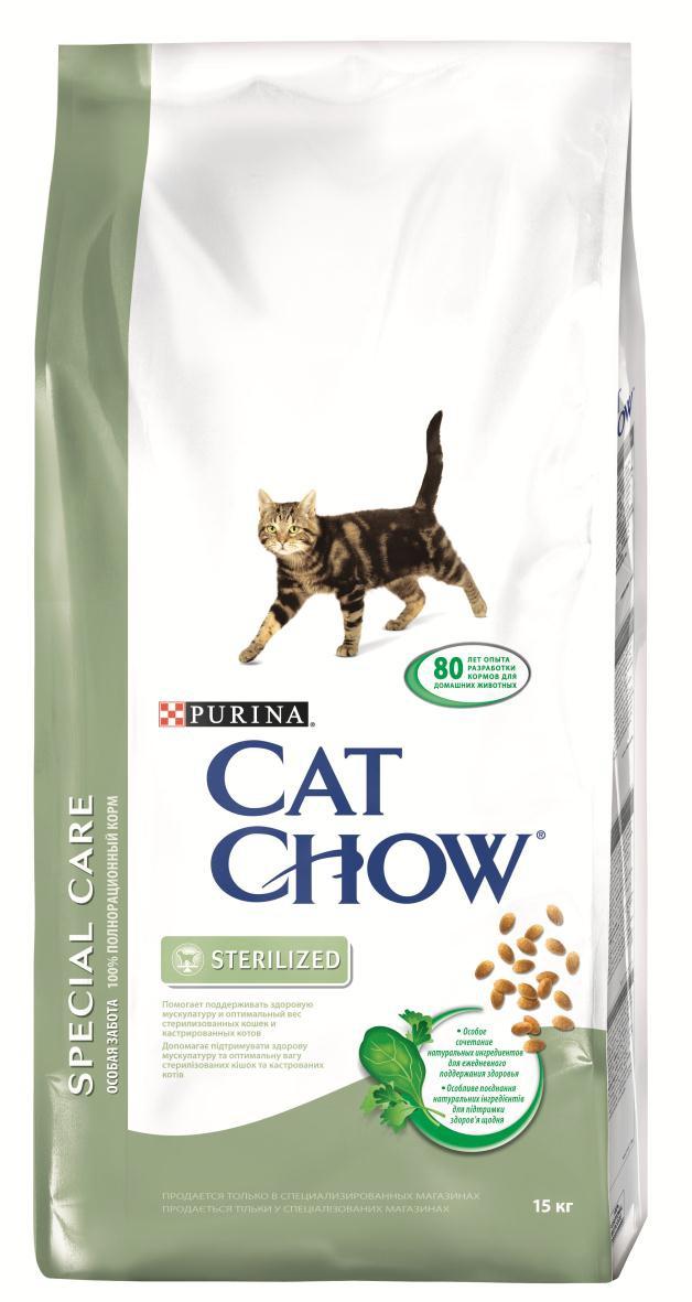 Корм сухой Cat Chow Special Care для стерилизованных кошек и кастрированных котов, 15 кг12147058Сухой корм Cat Chow Special Care - полнорационный корм для взрослых стерилизованных кошек и кастрированных котов, который помогает поддерживать здоровую мускулатуру и оптимальный вес животного. Сама природа вдохновляет компанию PURINA на разработку кормов, которые максимально отвечают потребностям ваших питомцев, с учетом их природных инстинктов. Имея более чем 80-ти летний опыт в области питания животных, PURINA создала новый корм Cat Chow - полностью сбалансированный корм, который не только доставит удовольствие вашей кошке, но и будет полезным для ее здоровья. Особенности корма Cat Chow Special Care: Высокое содержание мяса, с источниками высококачественного белка в каждой порции для поддержания оптимальной массы тела. Особое сочетание натуральных ингредиентов: тщательно отобранные травы и овощи (петрушка, шпинат, морковь, горох). Отборные ингредиенты придают особый аромат. Высокое содержание витамина Е для...