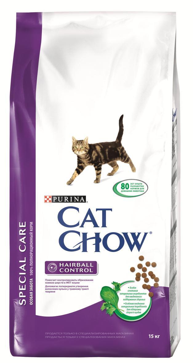 Корм сухой для кошек Cat Chow Special Care, контроль шерсти, 15 кг12147110Корм сухой Cat Chow Special Care - полнорационный корм для взрослых кошек, помогающий контролировать образование комков шерсти в желудочно-кишечном тракте. Сама природа вдохновляет компанию PURINA на разработку кормов, которые максимально отвечают потребностям ваших питомцев, с учетом их природных инстинктов. Имея более чем 80-ти летний опыт в области питания животных, PURINA создала новый корм Cat Chow - полностью сбалансированный корм, который не только доставит удовольствие вашей кошке, но и будет полезным для ее здоровья. Особенности корма Cat Chow Special Care: Высокое содержание мяса, с источниками высококачественного белка в каждой порции для поддержания оптимальной массы тела. Особое сочетание натуральных ингредиентов: тщательно отобранные травы и овощи (петрушка, шпинат, морковь, горох). Отборные ингредиенты придают особый аромат. Высокое содержание витамина Е для поддержания естественной защиты организма...