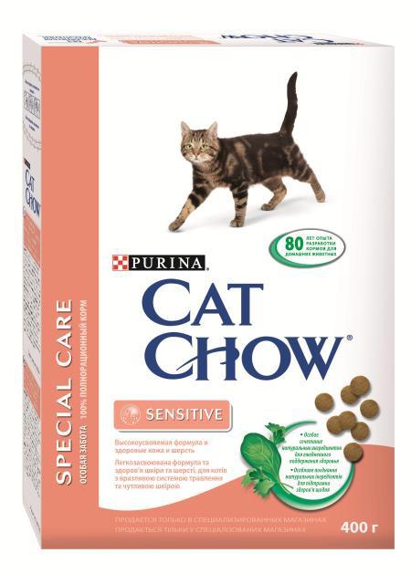 Корм сухой Cat Chow Special Care для кошек с чувствительным пищеварением, 400 г12161283Корм сухой Cat Chow Special Care - полнорационный корм для кошек с чувствительным пищеварением, для здоровья кожи и шерсти. Сама природа вдохновляет компанию PURINA на разработку кормов, которые максимально отвечают потребностям ваших питомцев, с учетом их природных инстинктов. Имея более чем 80-ти летний опыт в области питания животных, PURINA создала новый корм Cat Chow - полностью сбалансированный корм, который не только доставит удовольствие вашей кошке, но и будет полезным для ее здоровья. Особенности корма Cat Chow Special Care: Высокое содержание мяса, с источниками высококачественного белка в каждой порции для поддержания оптимальной массы тела. Особое сочетание натуральных ингредиентов: тщательно отобранные травы и овощи (петрушка, шпинат, морковь, горох). Отборные ингредиенты придают особый аромат. Высокое содержание витамина Е для поддержания естественной защиты организма питомца. Содержит мякоть...