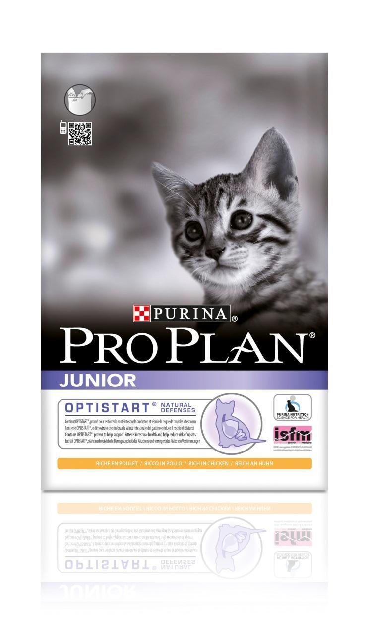 Корм сухой для котят Pro Plan Junior, с курицей, 10 кг12171446Сухой корм Pro Plan Junior - это полноценный рацион для котят. Он содержит особую разработанную с участием ученых комбинацию ингредиентов для поддержания здоровья вашего питомца в течение продолжительного времени. Особенности сухого корма: укрепляет здоровье кишечника котят и уменьшает риск расстройств пищеварения, усиливает иммунную систему благодаря молозиву, богатому антителами, поддерживает здоровый рост костей и мускулатуры, помогает поддерживать здоровое развитие мозга и зрения. Состав: курица (20%), сухой белок птицы, кукурузный глютен, рис, животный жир, кукуруза, пшеничный глютен, яичный порошок, минеральные вещества, вкусоароматическая кормовая добавка, рыбий жир, молозиво (0,1%). Анализ: белок: 40%, жир: 20%, сырая зола: 6,5%, сырая клетчатка: 0,5%. Добавки на кг: витамин А: 36 400; витамин D3: 1180; витамин Е: 670 мг/кг; железо: 335; йод: 4; медь: 68; марганец: 160; цинк: 570; селен: 0,38 мг/кг. Товар...