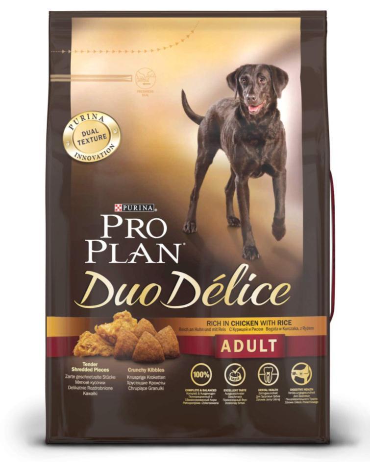 Корм сухой для собак Pro Plan Duo Delice, с курицей и рисом, 2,5 кг12176334Сухой корм Pro Plan Duo Delice - это полнорационный корм для взрослых собак, с курицей и рисом. Корм обеспечивает правильный баланс питательных веществ для поддержания здоровья и хорошего самочувствия взрослых собак. Тщательно отобранные ингредиенты и специально разработанный процесс приготовления обеспечивают высокую усвояемость корма, благодаря чему собаки получают необходимые им питательные вещества. Собаки обожают инновационное сочетание хрустящих крокет и мягких кусочков, в которых основным ингредиентом является курица. Уникальное сочетание хрустящих крокет и мягких кусочков побуждает собаку с удовольствием пережевывать корм. Механическое воздействие хрустящих крокет на зубы вашей собаки, действует как зубная щетка, тем самым способствует уменьшению отложения зубного камня. Содержащаяся в корме клетчатка помогает поддерживать здоровье пищеварительного тракта, помогает улучшить качество стула, а белок из специально выбранных ингредиентов легко...