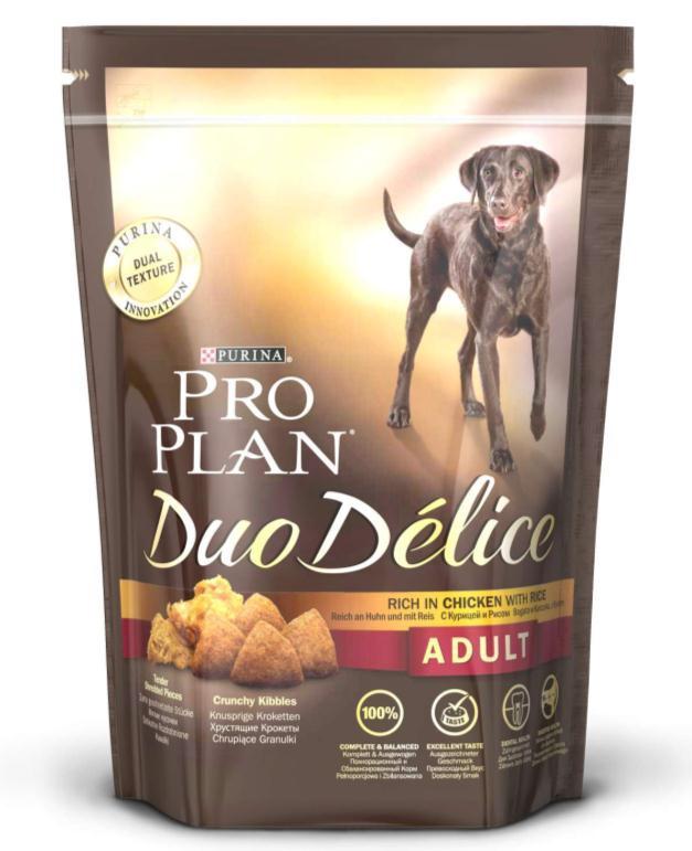 Корм сухой для собак Pro Plan Duo Delice, с курицей и рисом, 700 г12176335Сухой корм Pro Plan Duo Delice - это полнорационный корм для взрослых собак, с курицей и рисом. Корм обеспечивает правильный баланс питательных веществ для поддержания здоровья и хорошего самочувствия взрослых собак. Тщательно отобранные ингредиенты и специально разработанный процесс приготовления обеспечивают высокую усвояемость корма, благодаря чему собаки получают необходимые им питательные вещества. Собаки обожают инновационное сочетание хрустящих крокет и мягких кусочков, в которых основным ингредиентом является курица. Уникальное сочетание хрустящих крокет и мягких кусочков побуждает собаку с удовольствием пережевывать корм. Механическое воздействие хрустящих крокет на зубы вашей собаки, действует как зубная щетка, тем самым способствует уменьшению отложения зубного камня. Содержащаяся в корме клетчатка помогает поддерживать здоровье пищеварительного тракта, помогает улучшить качество стула, а белок из специально выбранных ингредиентов легко...
