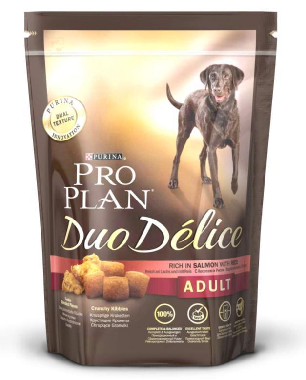 Корм сухой для собак Pro Plan Duo Delice, с лососем и рисом, 700 г12202611Сухой корм Pro Plan Duo Delice - это полнорационный корм для взрослых собак, с лососем и рисом. Корм обеспечивает правильный баланс питательных веществ для поддержания здоровья и хорошего самочувствия взрослых собак. Тщательно отобранные ингредиенты и специально разработанный процесс приготовления обеспечивают высокую усвояемость корма, благодаря чему собаки получают необходимые им питательные вещества. Собаки обожают инновационное сочетание хрустящих крокет и мягких кусочков, в которых основным ингредиентом является лосось. Уникальное сочетание хрустящих крокет и мягких кусочков побуждает собаку с удовольствием пережевывать корм. Механическое воздействие хрустящих крокет на зубы вашей собаки, действует как зубная щетка, тем самым способствует уменьшению отложения зубного камня. Содержащаяся в корме клетчатка помогает поддерживать здоровье пищеварительного тракта, помогает улучшить качество стула, а белок из специально выбранных ингредиентов легко...